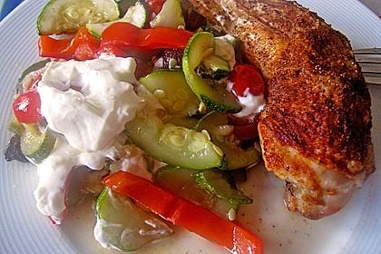 Hähnchenschenkel mit Ofen - Schmand - Gemüse 7