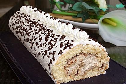 Biskuitrolle mit Nutella - Cappuccinosahne 1