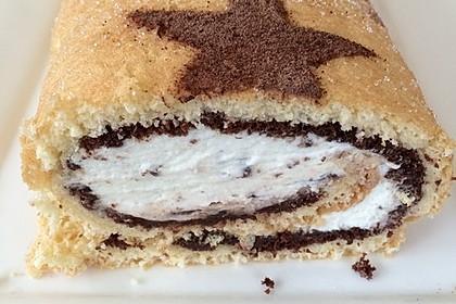 Biskuitrolle mit Nutella - Cappuccinosahne 5