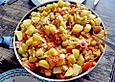 Leichte Gemüsepfanne mit Rotbarsch