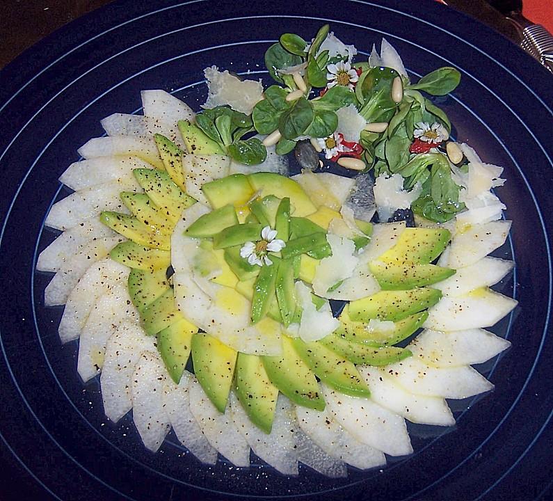 avocado birnen salat rezept mit bild von mfd. Black Bedroom Furniture Sets. Home Design Ideas