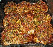 Schweinefiletmedaillons mit Parmesan - Tomaten - Kruste (Bild)