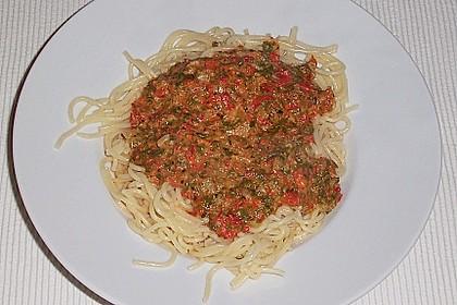 Mangold - Paprika - Soße mit Spaghetti 4