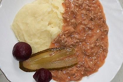 Kartoffelbrei und Gehacktesstippe 1