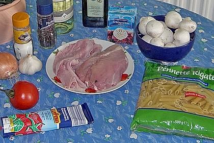 Penne mit Hähnchen und Champignons 23