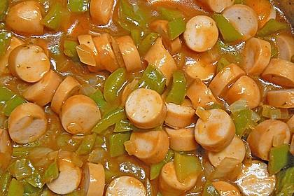 Würstchenragout mit Kartoffelrand 1