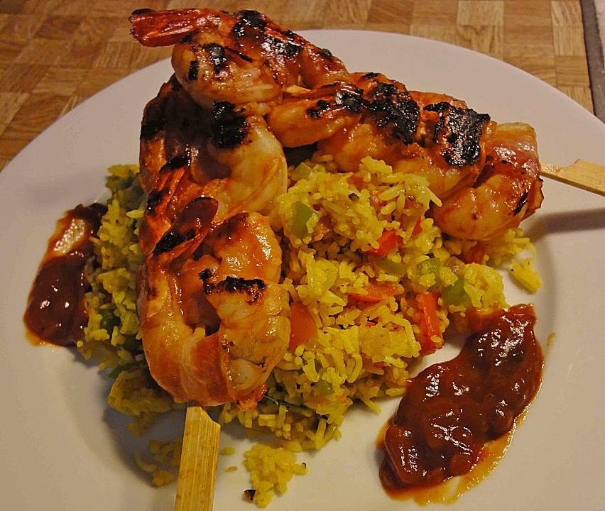 Bacon Wrapped Barbeque Shrimp Recipe — Dishmaps