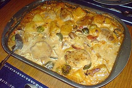 Schweinefilet auf Gemüse und Kartoffeln 19