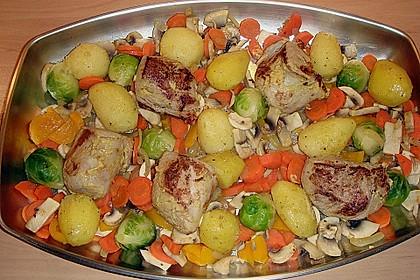 Schweinefilet auf Gemüse und Kartoffeln 6