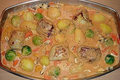 Schweinefilet auf Gemüse und Kartoffeln 10
