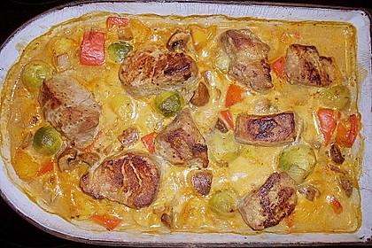 Schweinefilet auf Gemüse und Kartoffeln 11