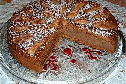 Apfelkuchen mit  Nüssen schnell zubereitet