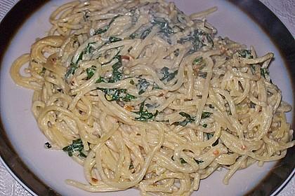 Spaghettini mit Ziegenkäse, Rucola und Limetten 5