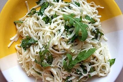 Spaghettini mit Ziegenkäse, Rucola und Limetten 3