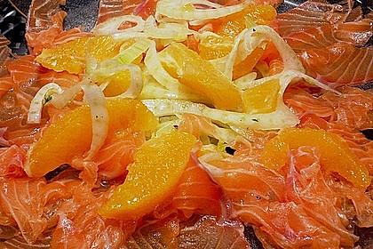 Lachscarpaccio mt Orangen - Fenchelsalat
