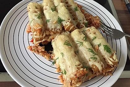 Gemüse - Reis - Pfanne mit Fischstäbchen 4