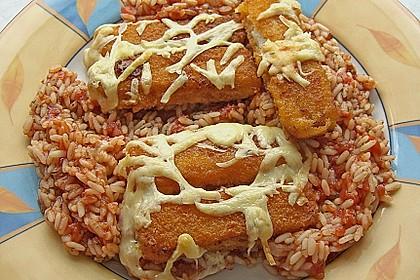 Gemüse - Reis - Pfanne mit Fischstäbchen 0