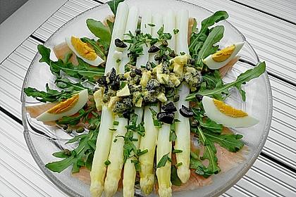 Spargel mit Oliven - Ei - Sauce
