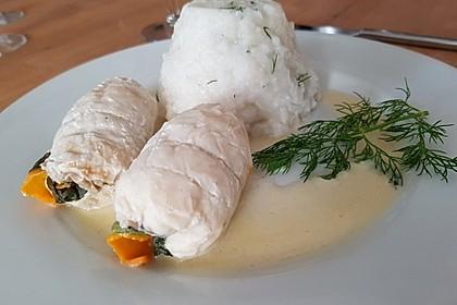 Fischfilet - Röllchen in Estragon - Schaum 2