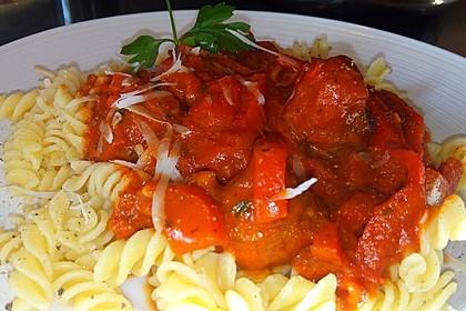 Hackbällchen in Paprika - Tomaten - Sauce 2