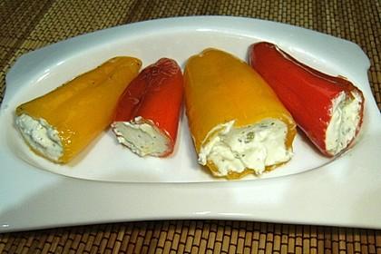 Antipasti - mit Frischkäse gefüllte Paprika 11