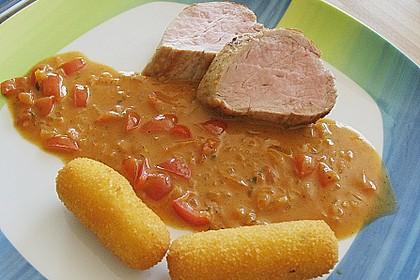 Filetplatte mit Tomaten - Cognac - Rahm