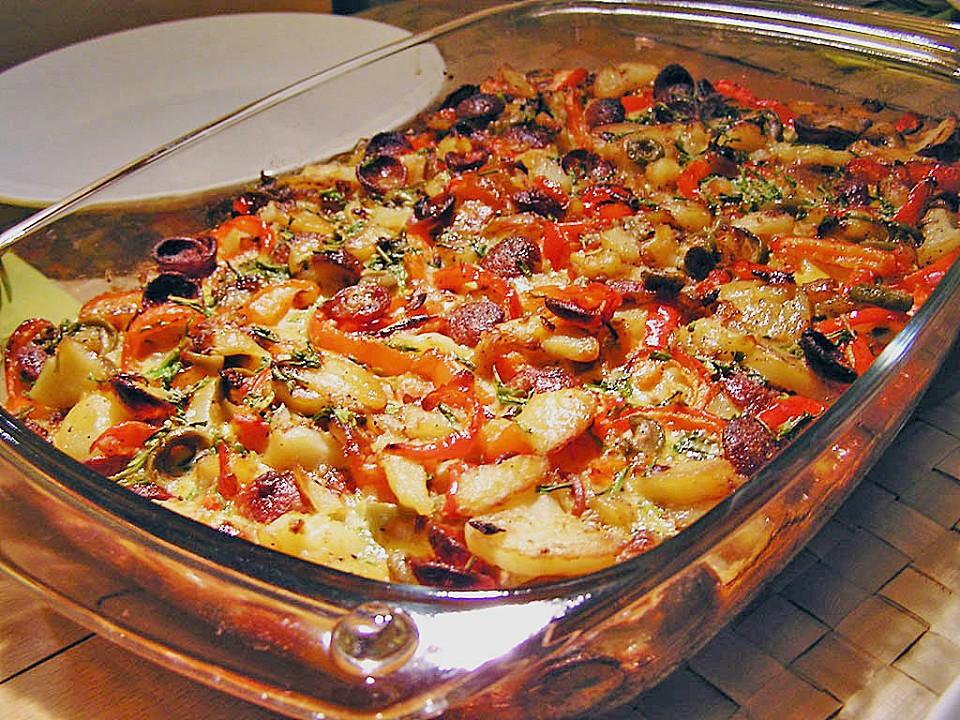 Spanische Tortillapfanne Mit Gemüse Und Chorizo (Rezept Mit Bild