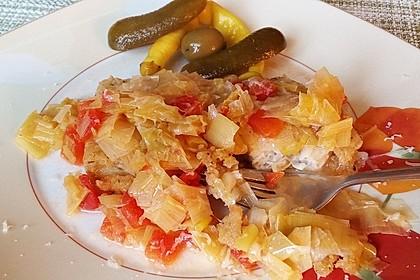 Lauchgemüse mit geschmolzenen Tomaten 9