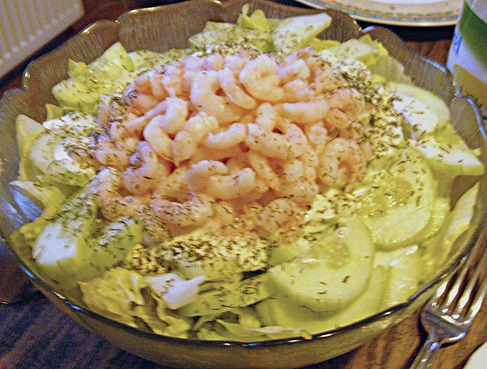 shrimps salat mit gurke und dill sahne so e rezept mit bild. Black Bedroom Furniture Sets. Home Design Ideas