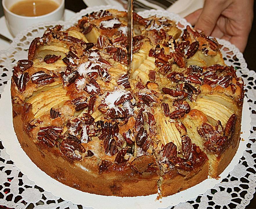 apfelkuchen mit karamellisierten n ssen rezept mit bild