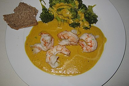 Riesengarnelen in Curry - Apfel Sauce