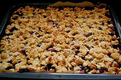 Pflaumenkuchen mit Streuseln auf dem Blech 5