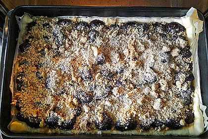 Pflaumenkuchen mit Streuseln auf dem Blech 8
