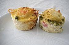 Spaghetti - Muffins mit Kräuterquark