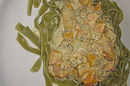 Kürbis und Lachs in Dill - Senfsauce 3