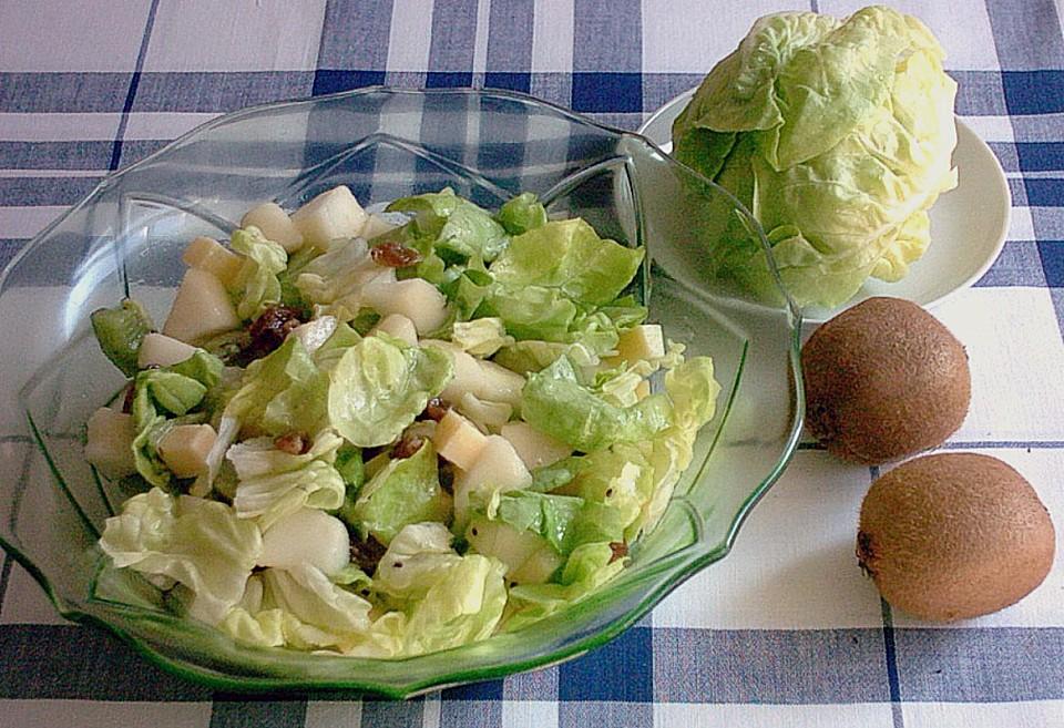 gr ner salat mit kiwi rezept mit bild von igel 123. Black Bedroom Furniture Sets. Home Design Ideas