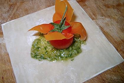 Cocktailtomate im Pesto - Wantanteigmantel mit Ziegenfrischkäse gefüllt 1