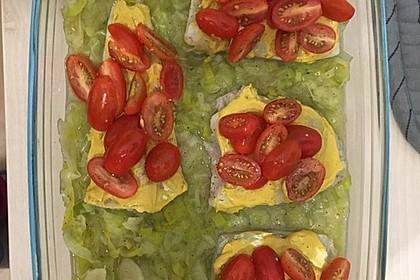 Fischfilet-Gratin mit Porree und Tomaten 10