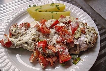 Fischfilet-Gratin mit Porree und Tomaten 2