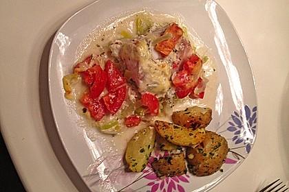 Fischfilet-Gratin mit Porree und Tomaten 20