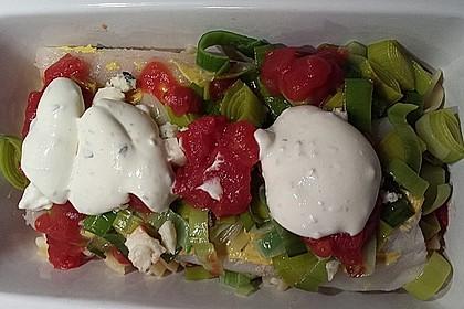 Fischfilet-Gratin mit Porree und Tomaten 25
