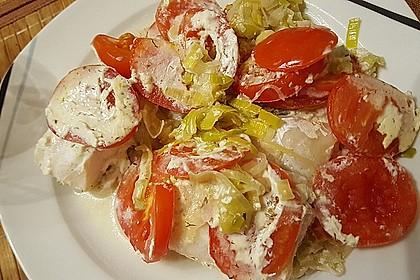 Fischfilet-Gratin mit Porree und Tomaten 11