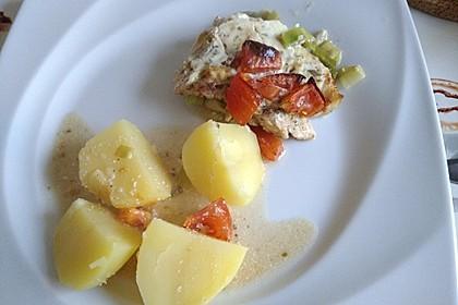Fischfilet-Gratin mit Porree und Tomaten 28