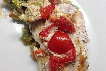 Fischfilet-Gratin mit Porree und Tomaten 7