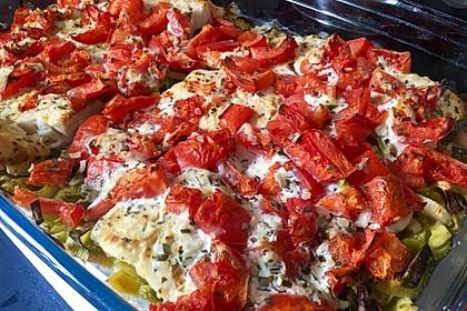 Fischfilet-Gratin mit Porree und Tomaten 6