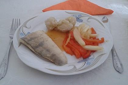 Gebratenes Zanderfilet auf Fenchel - Paprika - Gemüse 9