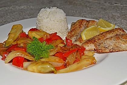 Gebratenes Zanderfilet auf Fenchel - Paprika - Gemüse 3