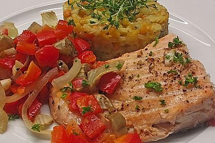 Gebratenes Zanderfilet auf Fenchel - Paprika - Gemüse 2
