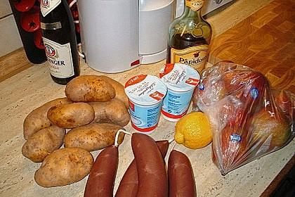 Blutwurst mit Stampfkartoffeln und Birnenkompott 2