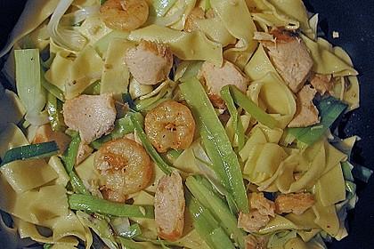 Pasta mit Lauch und Gambas 2